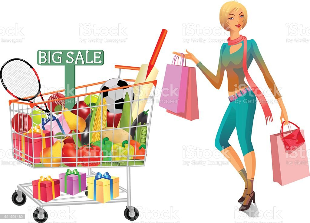 Gifts Vegetables And Fruits In Shopping Trolley With Lady vector art illustration