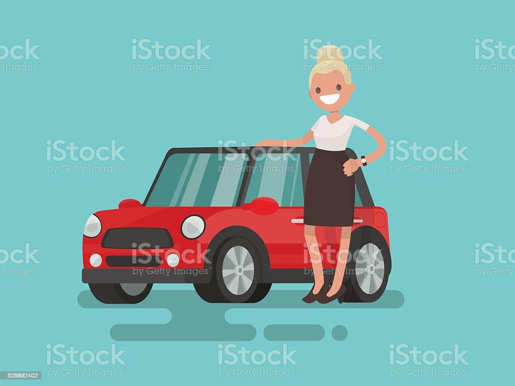 Giirl next to a small red car. Vector illustration vector art illustration