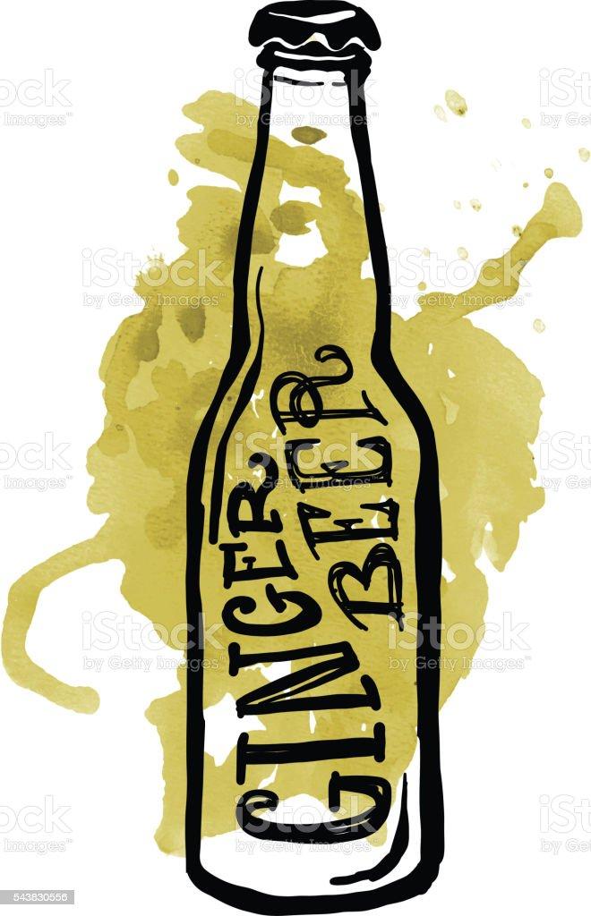Ginger Beer label and bottle on watercolor vector art illustration
