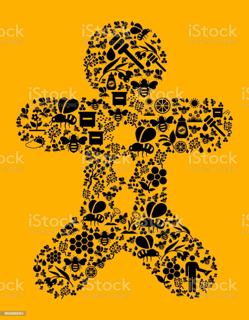 Ginger Bread Man Bee and Honey Vector Icon Background vector art illustration