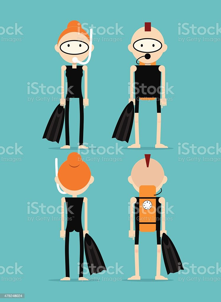 Ginger coupe in diving suits vector art illustration