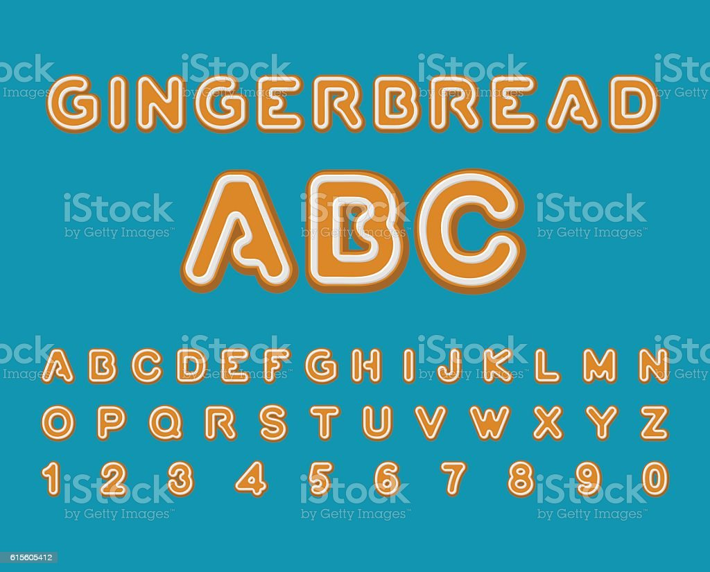 Gingerbread ABC. Christmas cookie Alphabet . Mint Cookies font. vector art illustration