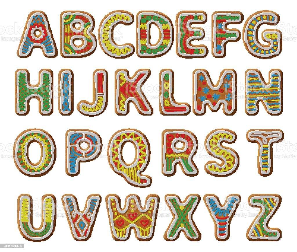 Gingerbread alphabet with glaze vector art illustration