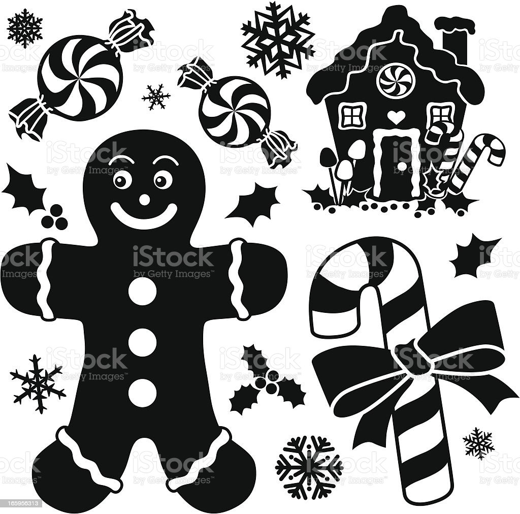 gingerbread and peppermint design elements vector art illustration