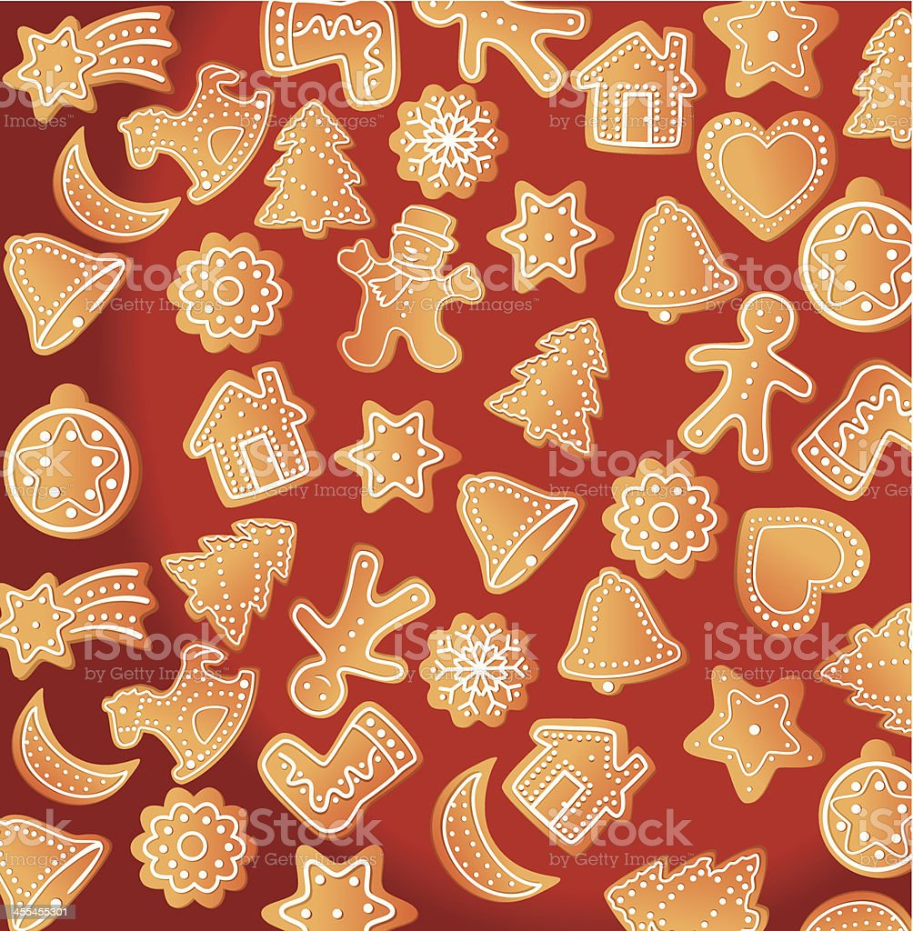 Gingerbread Background vector art illustration