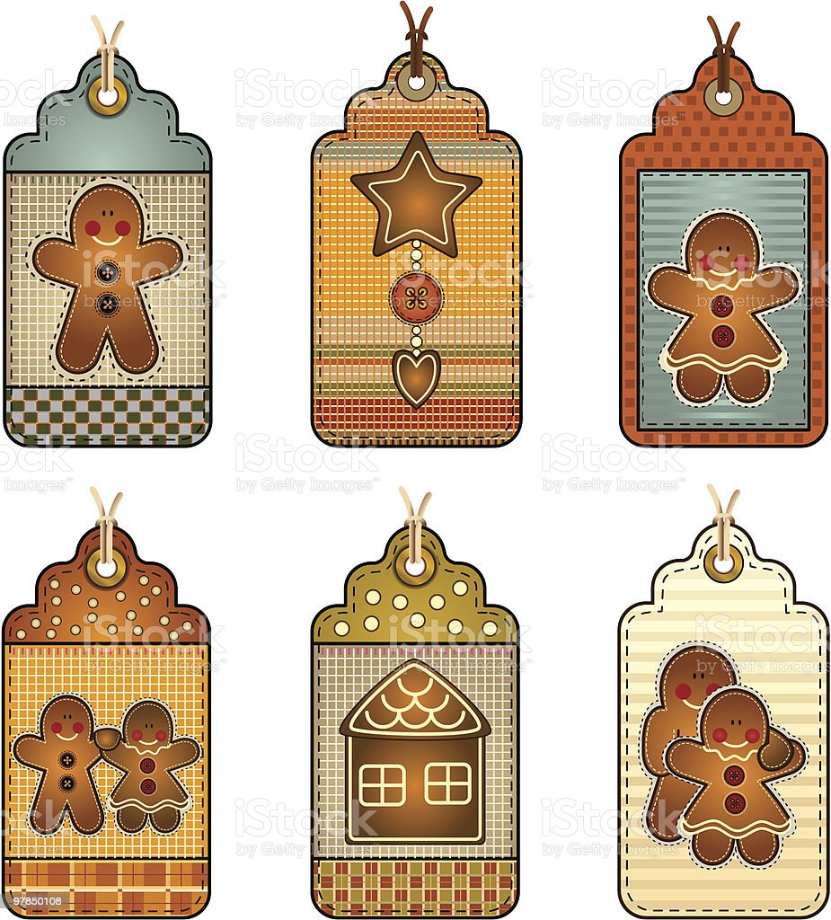Gingerbread Biscuit Tags royalty-free stock vector art