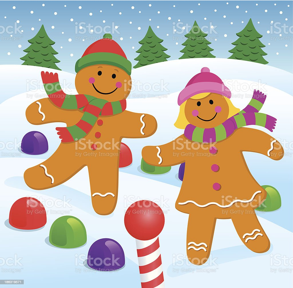 Gingerbread Boy and Girl in the Snow vector art illustration