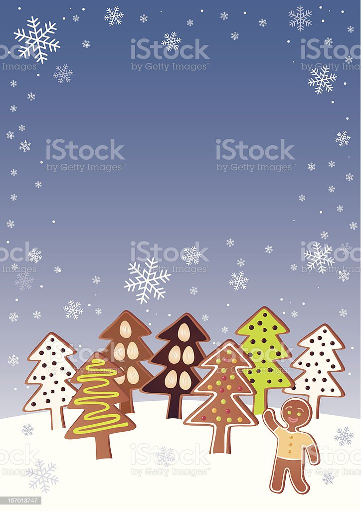 Gingerbread Christmas trees royalty-free stock vector art