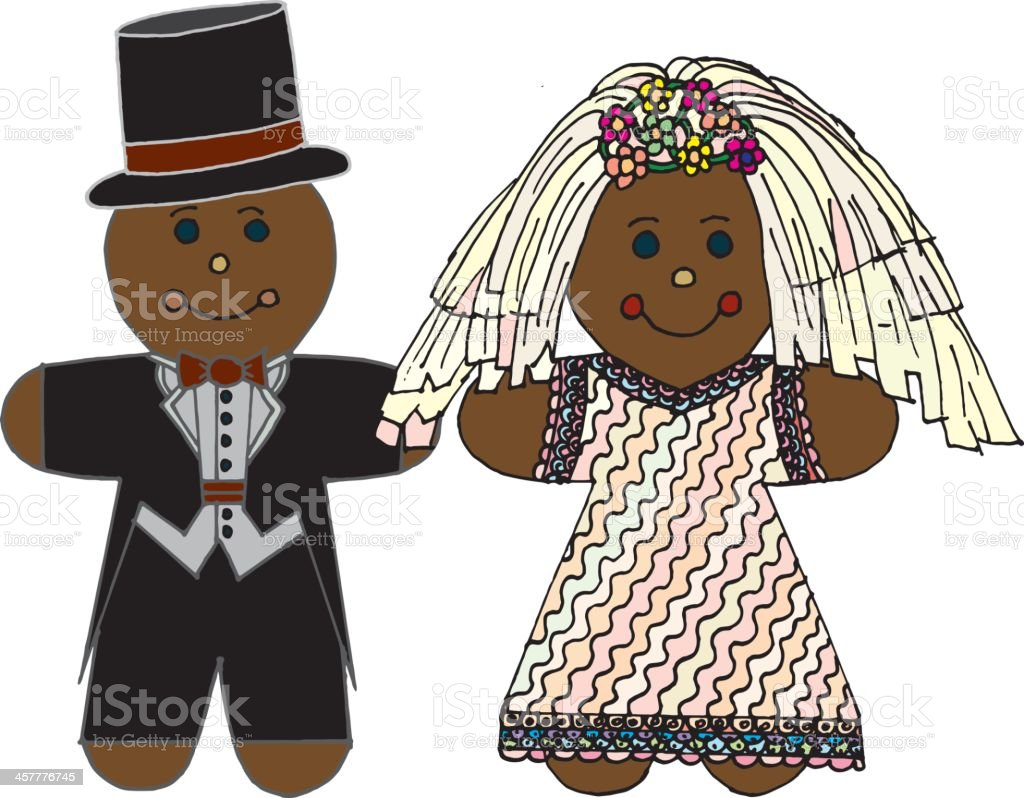 Gingerbread Cookie Bride Wearing Wedding Dress and Groom In Tux vector art illustration