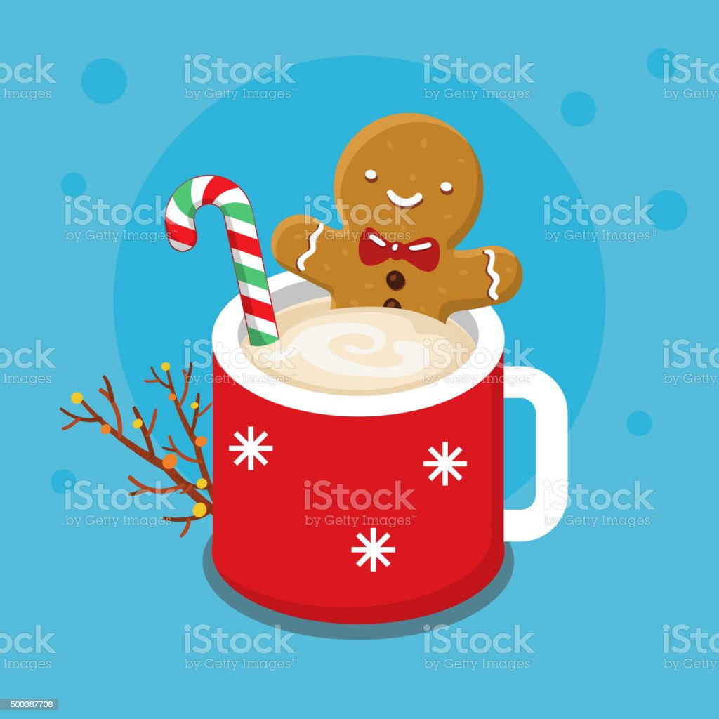 Gingerbread cookie man in a hot cup vector art illustration