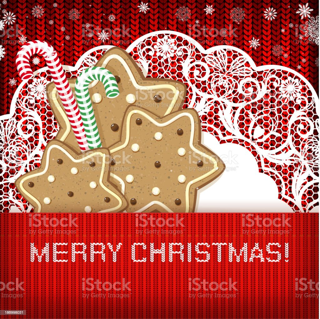 Gingerbread Cookies and Candy Canes on Christmas Background royalty-free stock vector art