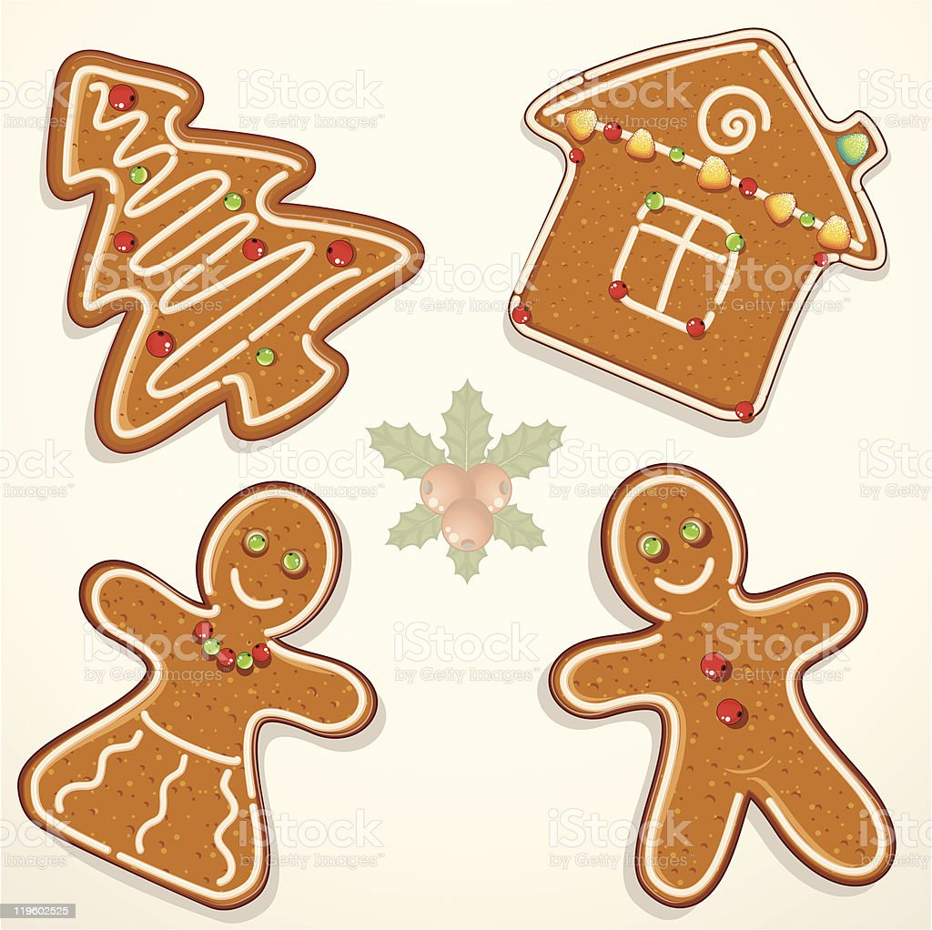 Gingerbread cookies cutout in Christmas shapes with icing royalty-free stock vector art