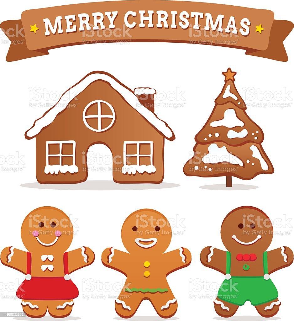 Gingerbread cookies vector art illustration
