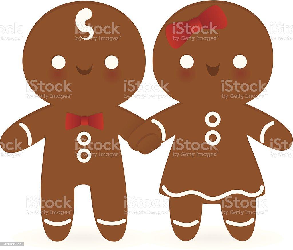 Gingerbread Couple vector art illustration