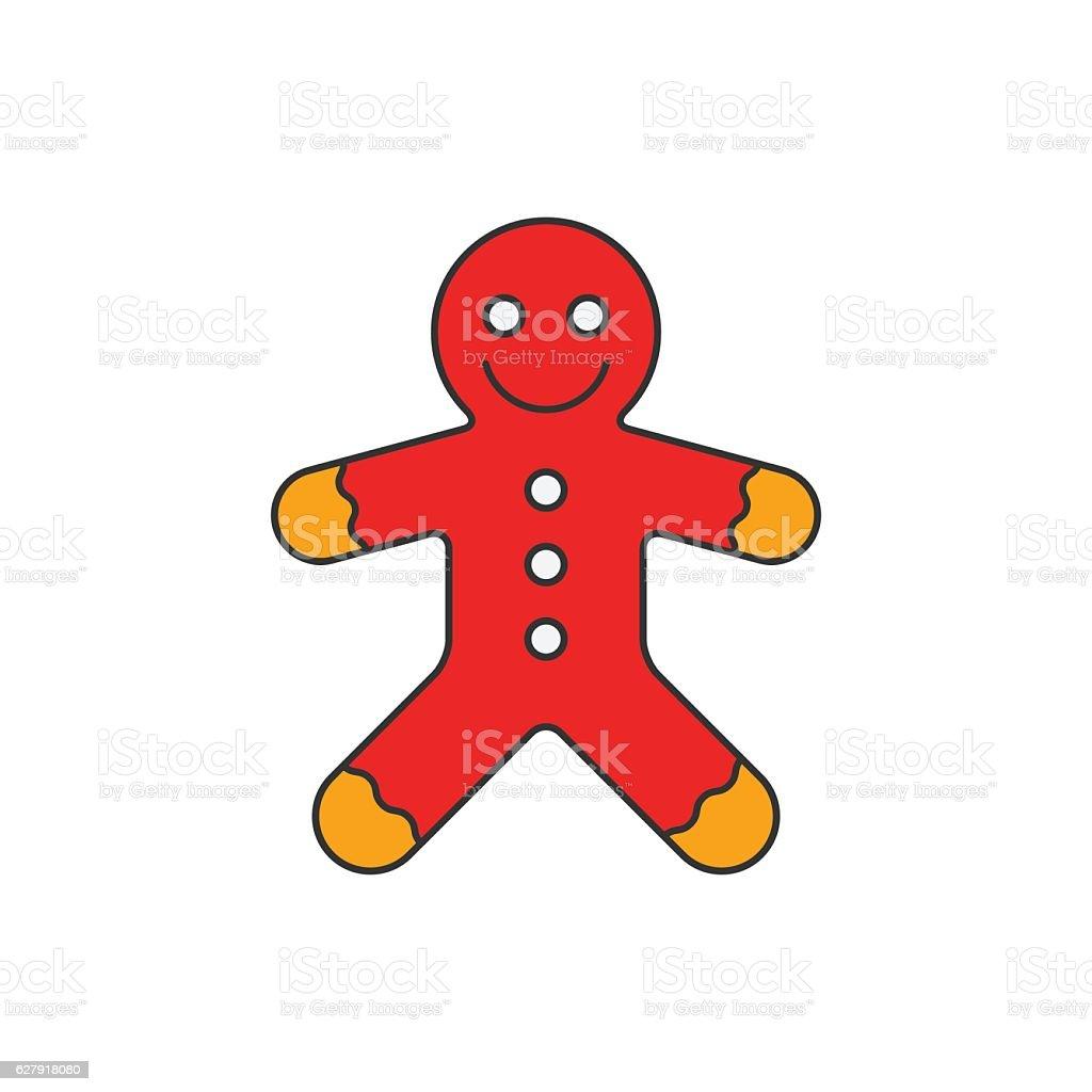 Gingerbread flat line icon vector art illustration