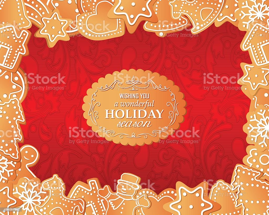 Gingerbread Frame vector art illustration