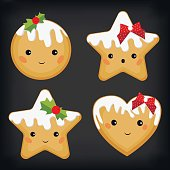 Gingerbread ginger cookie funny cute flat set vector illustration
