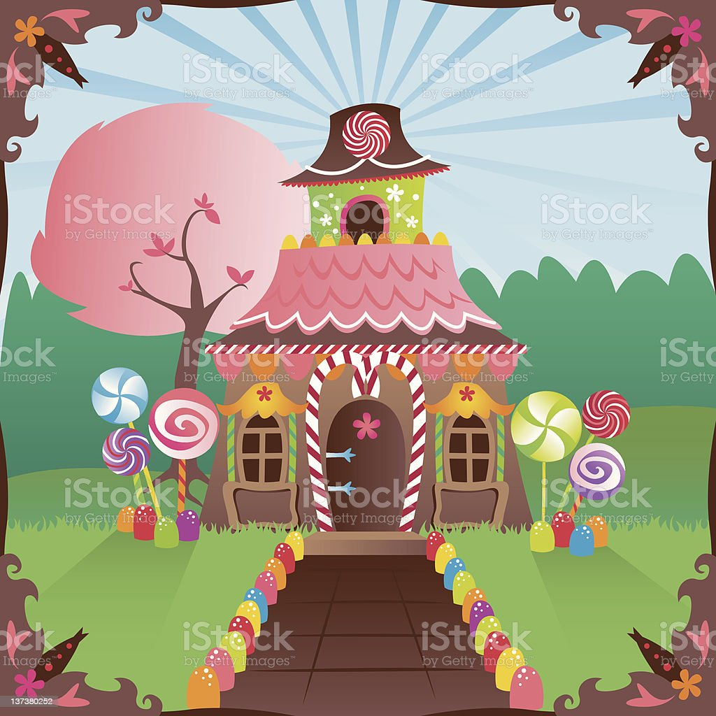 Gingerbread house cartoon graphic with candy royalty-free stock vector art