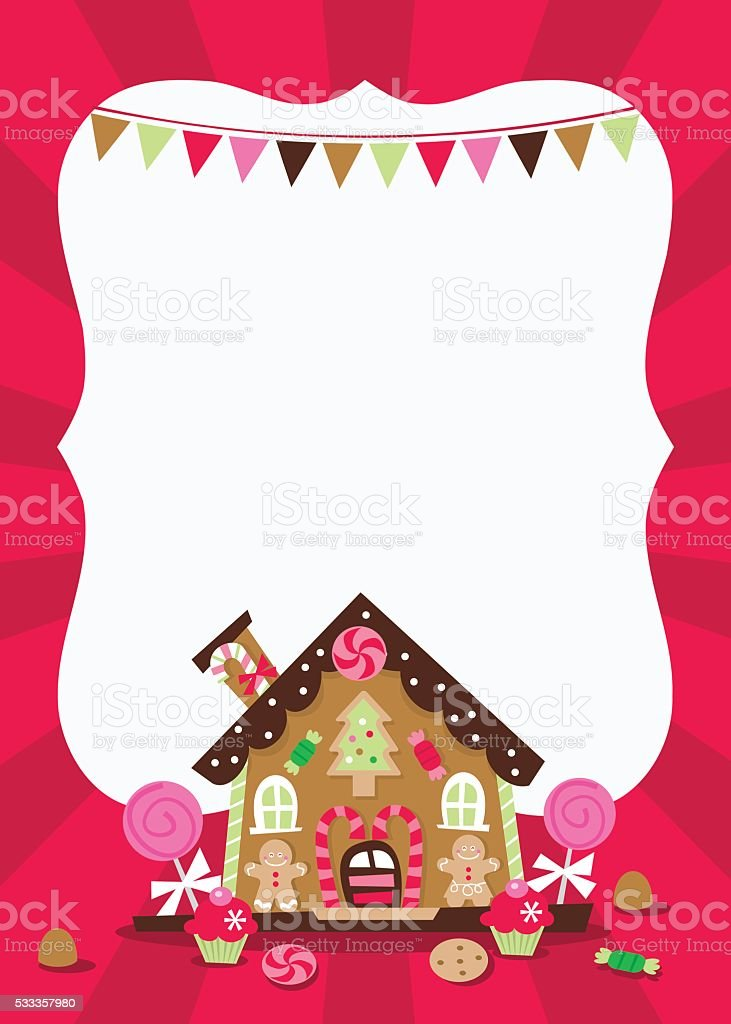 Gingerbread House copy space vector art illustration