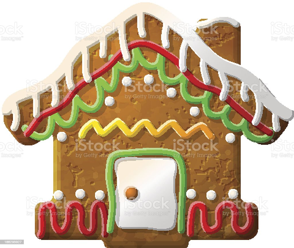 Gingerbread house decorated colored icing royalty-free stock vector art
