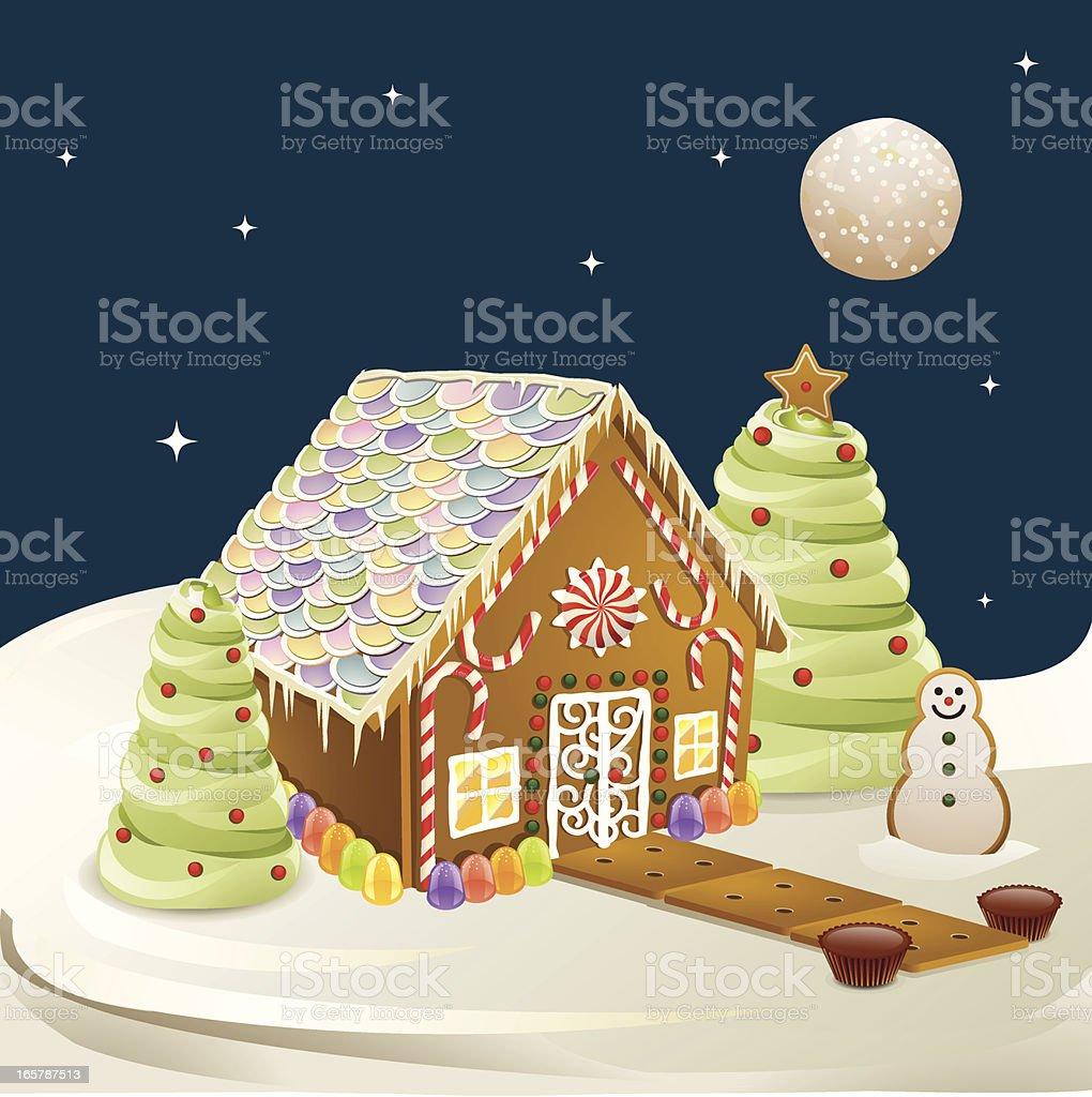 Gingerbread House Scene royalty-free stock vector art