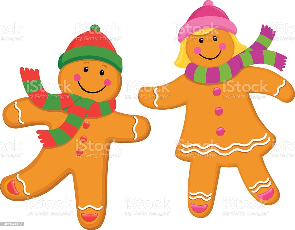 Gingerbread Kids Wearing Knit Caps and Scarves vector art illustration