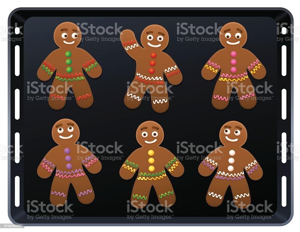 Gingerbread Man Baking Plate vector art illustration