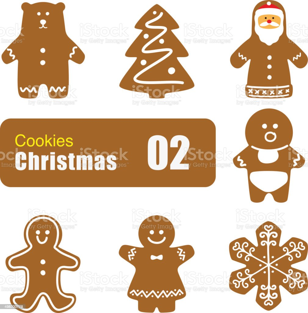 Gingerbread man cookies, biscuit, vector vector art illustration