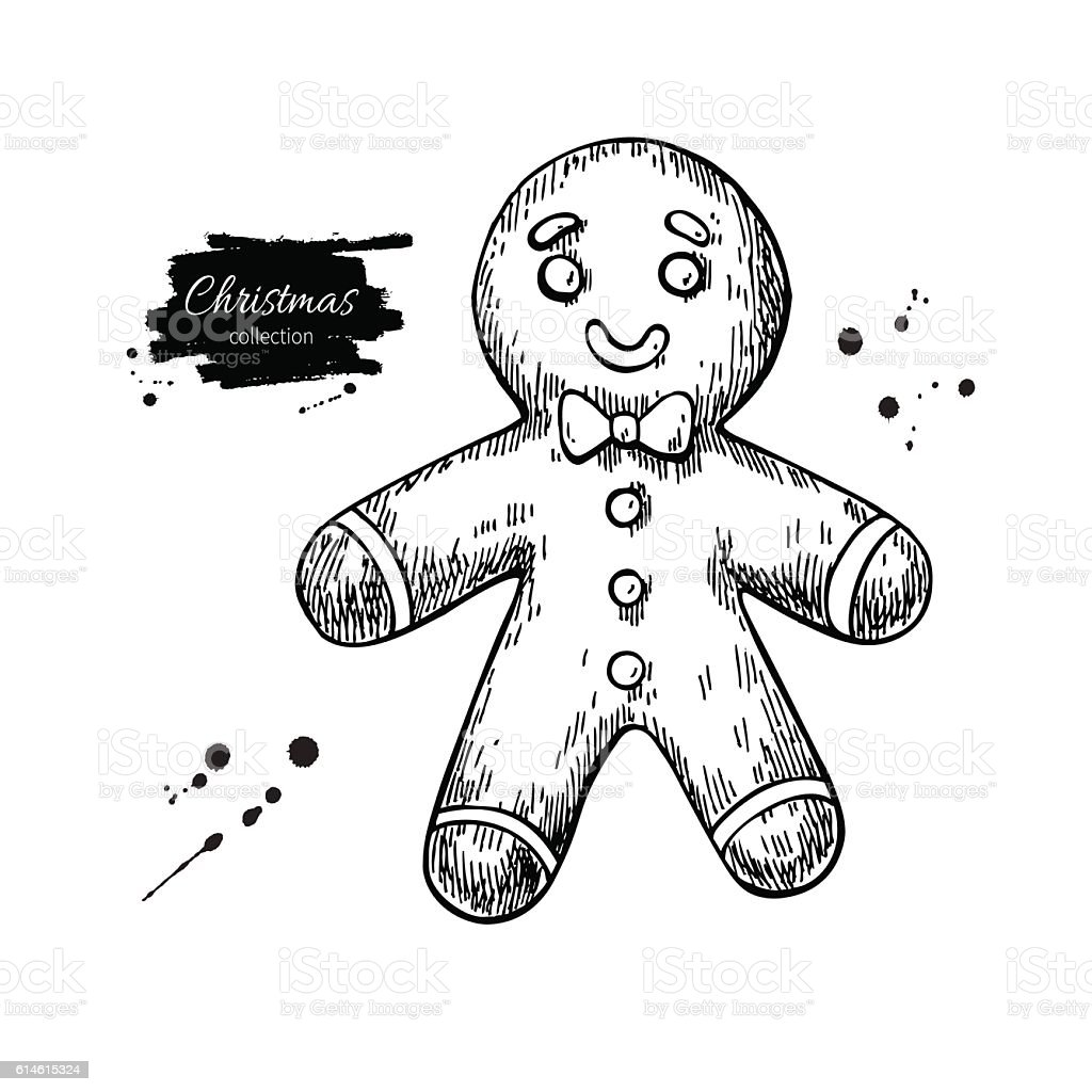 Gingerbread man decorated with icing. Hand drawn vector illustra vector art illustration
