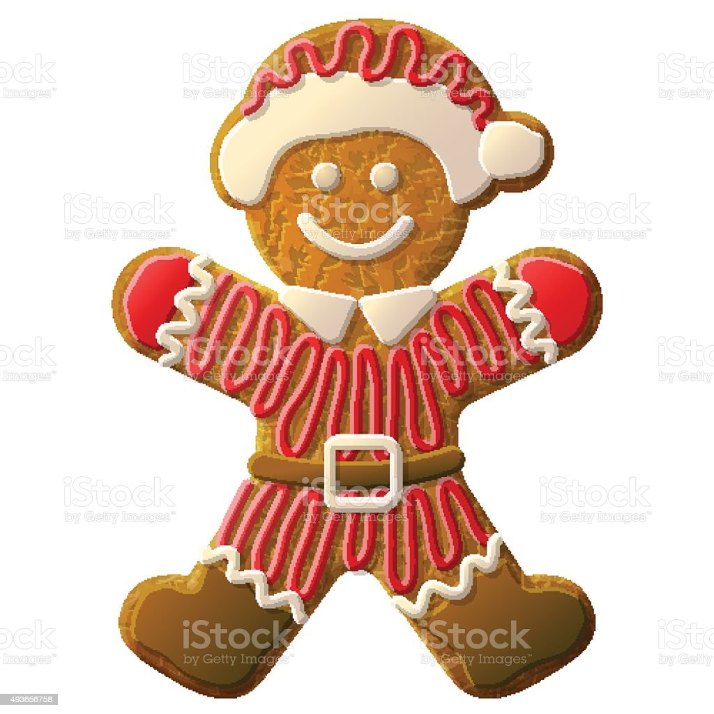Gingerbread man dressed in Santa Claus suit vector art illustration