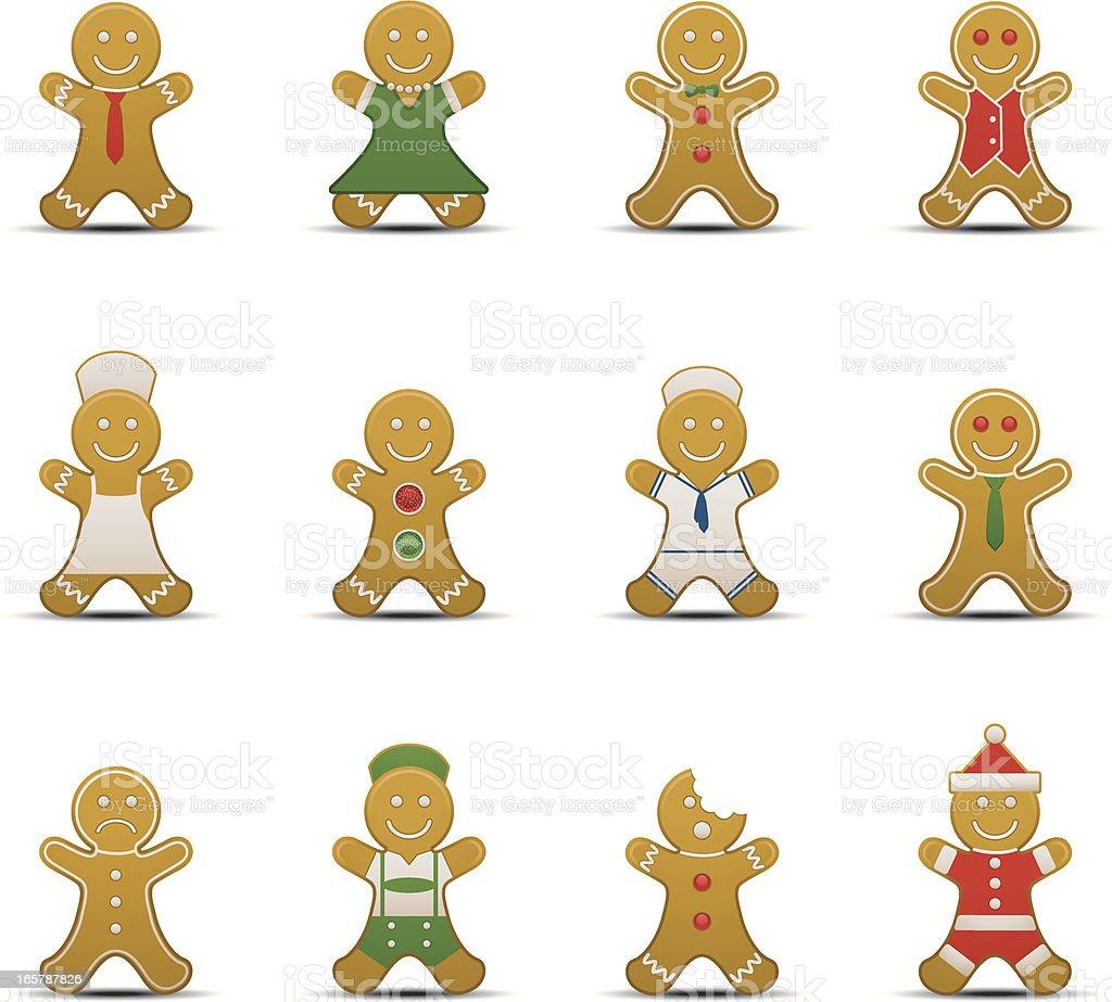 Gingerbread Man Icons vector art illustration