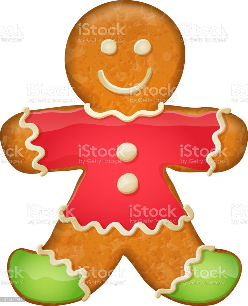 Gingerbread man in red clothes. Christmas symbol. vector art illustration