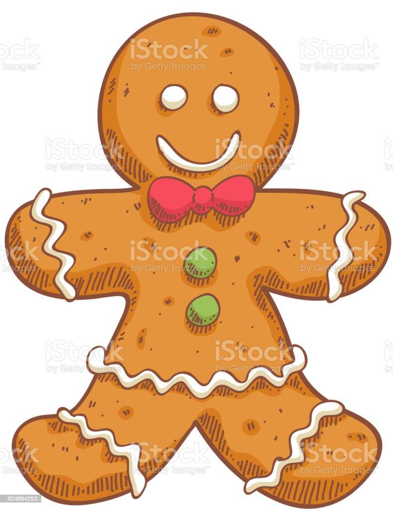 Gingerbread man in sketch style. Christmas symbol. vector art illustration