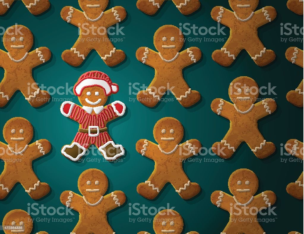 Gingerbread man is decorated in christmas suit vector art illustration