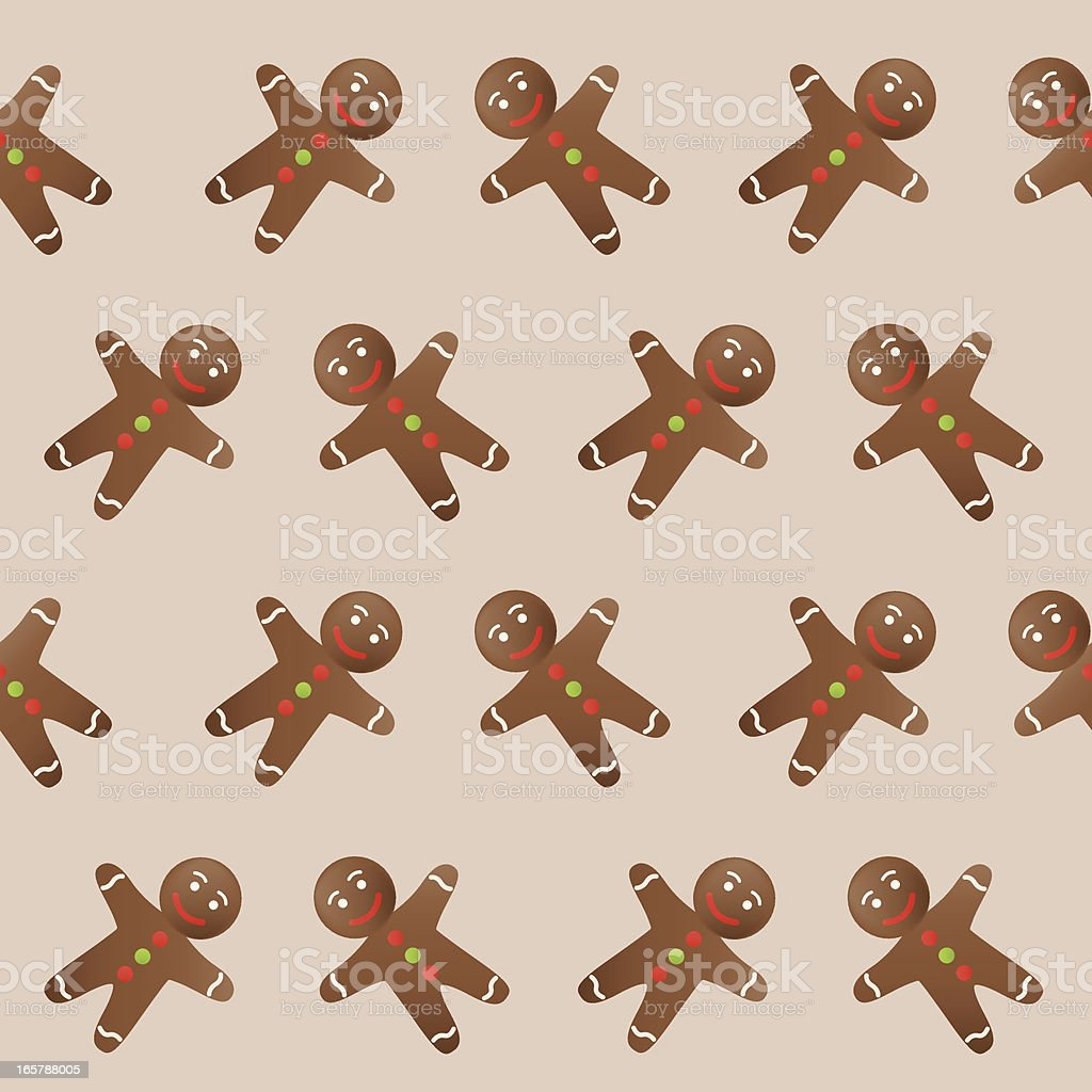 Gingerbread man seamless background royalty-free stock vector art