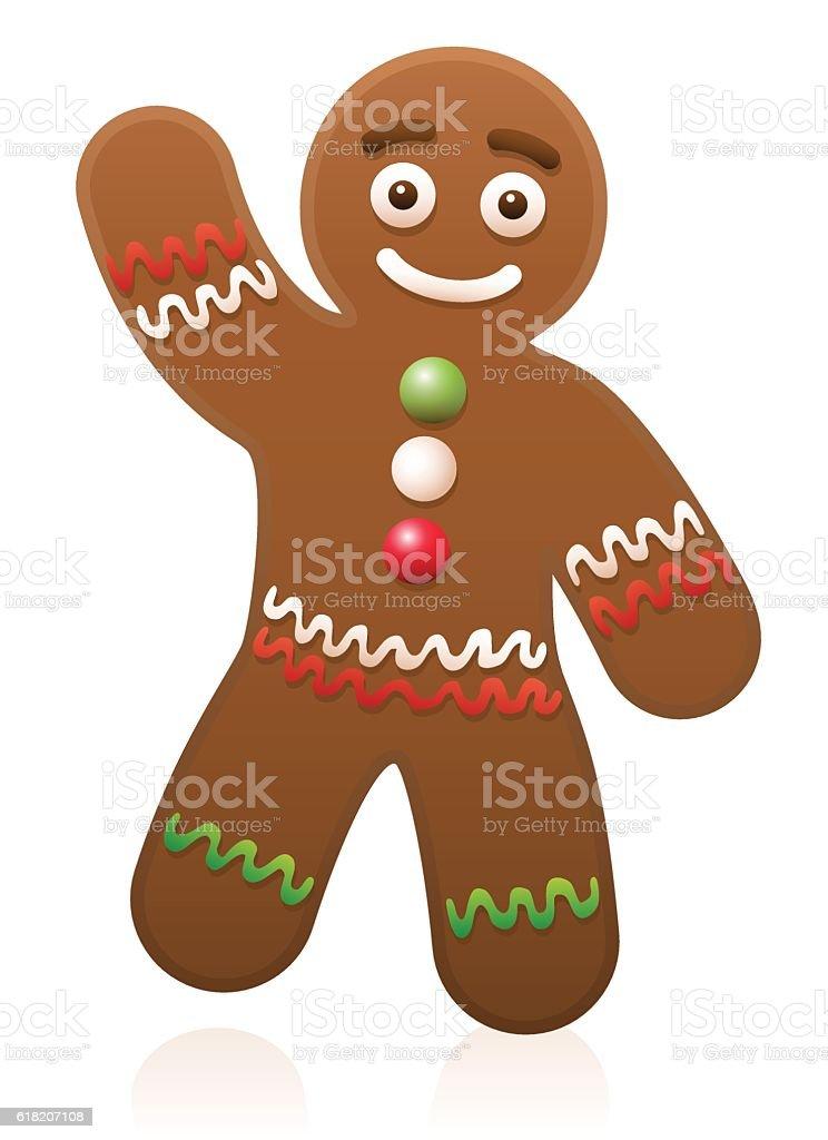 Gingerbread Man Waving vector art illustration