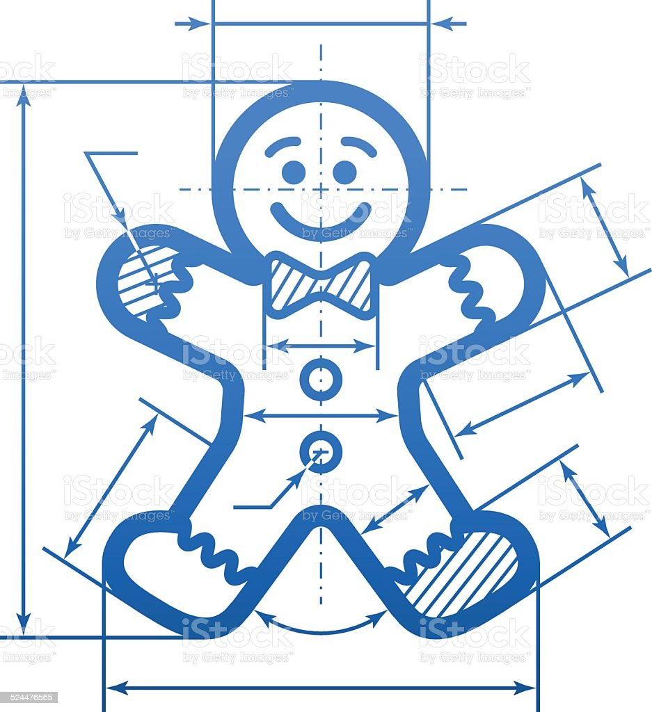 Gingerbread man with dimension lines vector art illustration