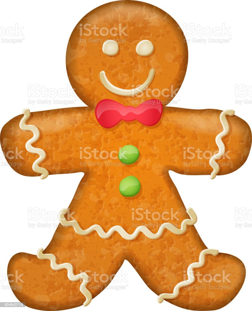 Gingerbread man with red bow. Christmas symbol. vector art illustration
