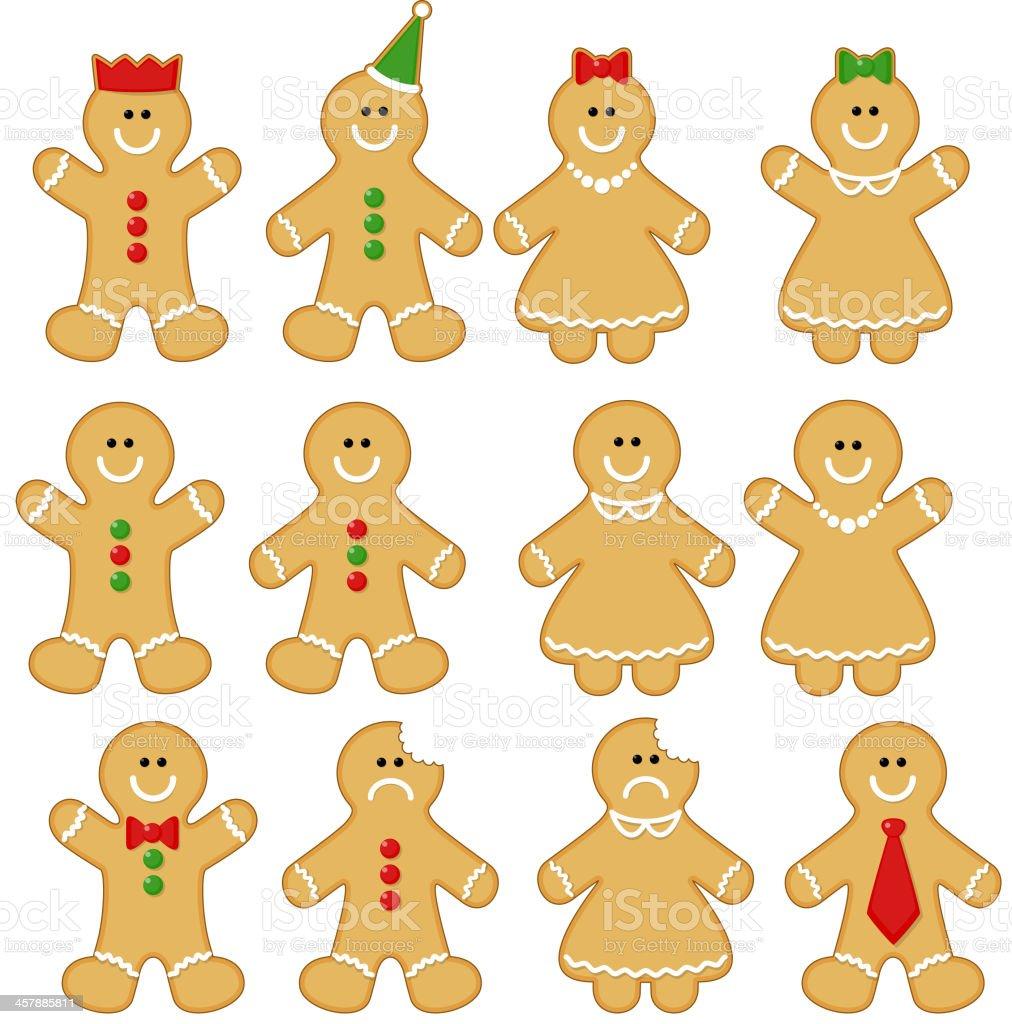 Gingerbread Men (and Women). vector art illustration