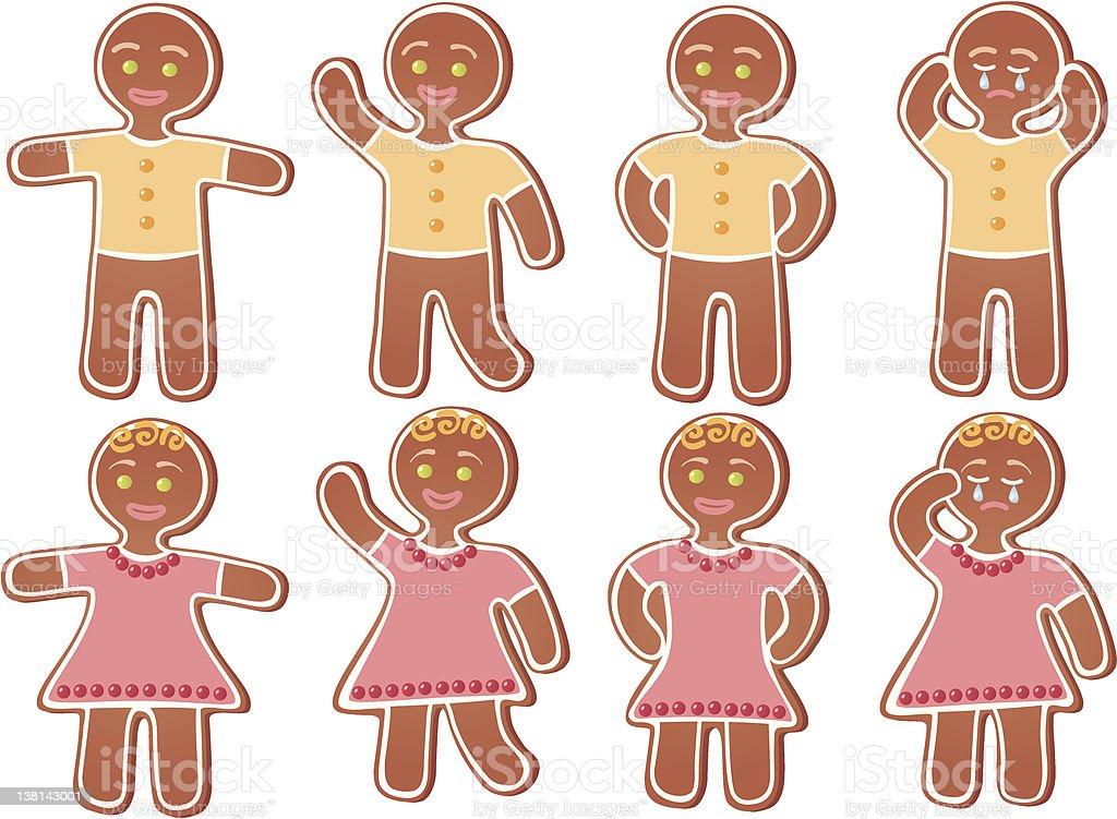 Gingerbread person vector art illustration