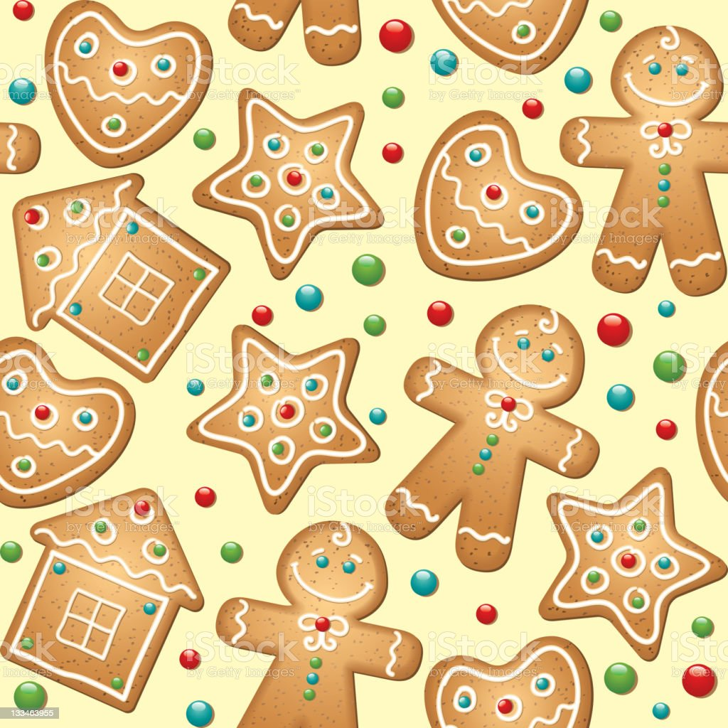 gingerbread seamless pattern royalty-free stock vector art