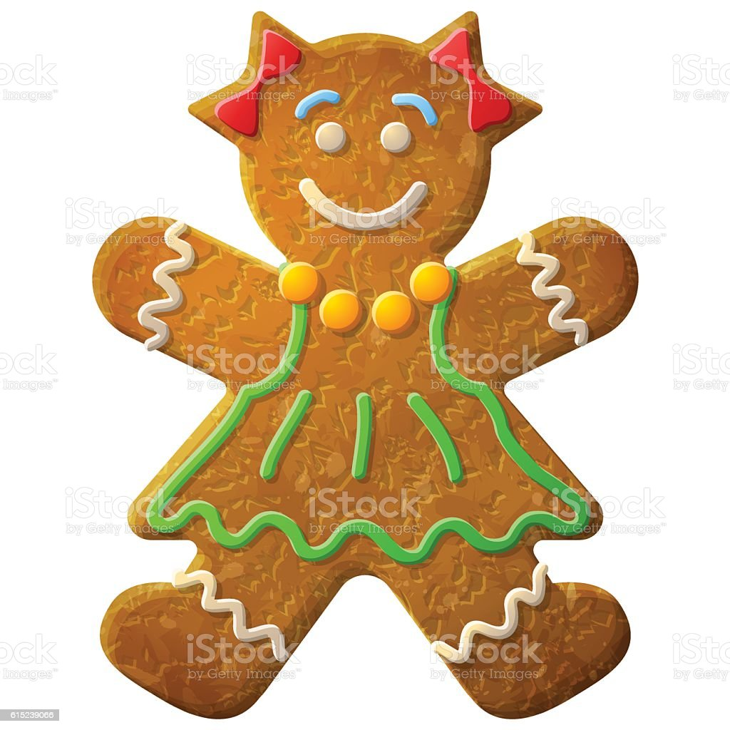 Gingerbread woman decorated colored icing vector art illustration