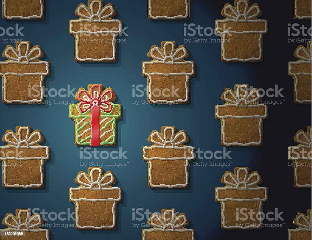 Gingerbreads in form of christmas gift with icing vector art illustration