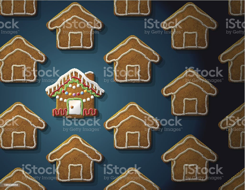 Gingerbreads in shape of christmas house with icing vector art illustration