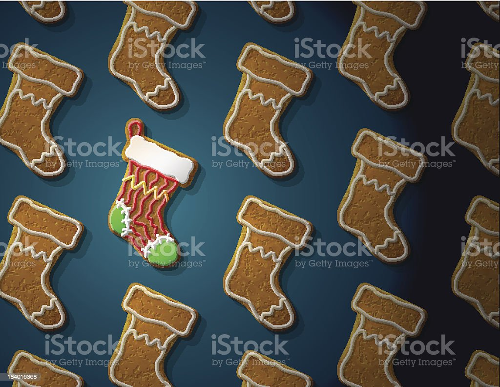 Gingerbreads in shape of christmas stocking with icing vector art illustration