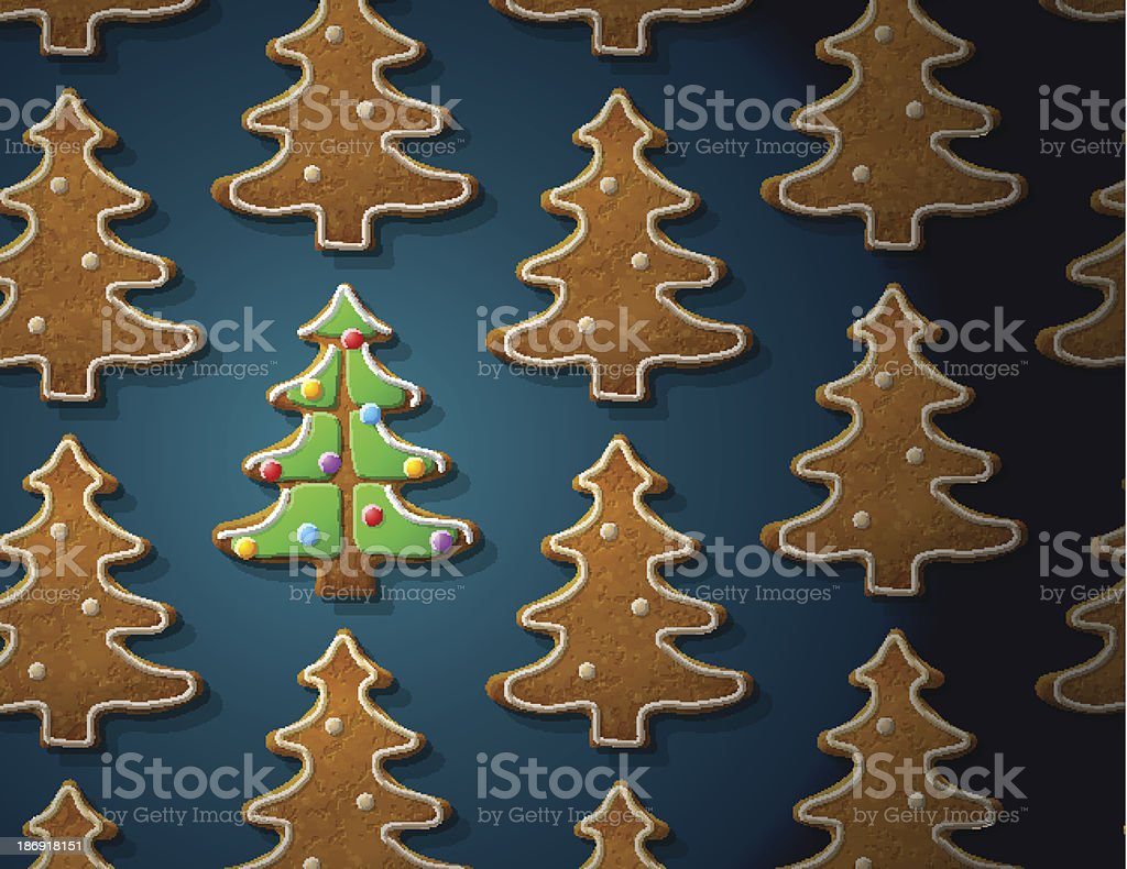 Gingerbreads in shape of christmas tree with icing vector art illustration