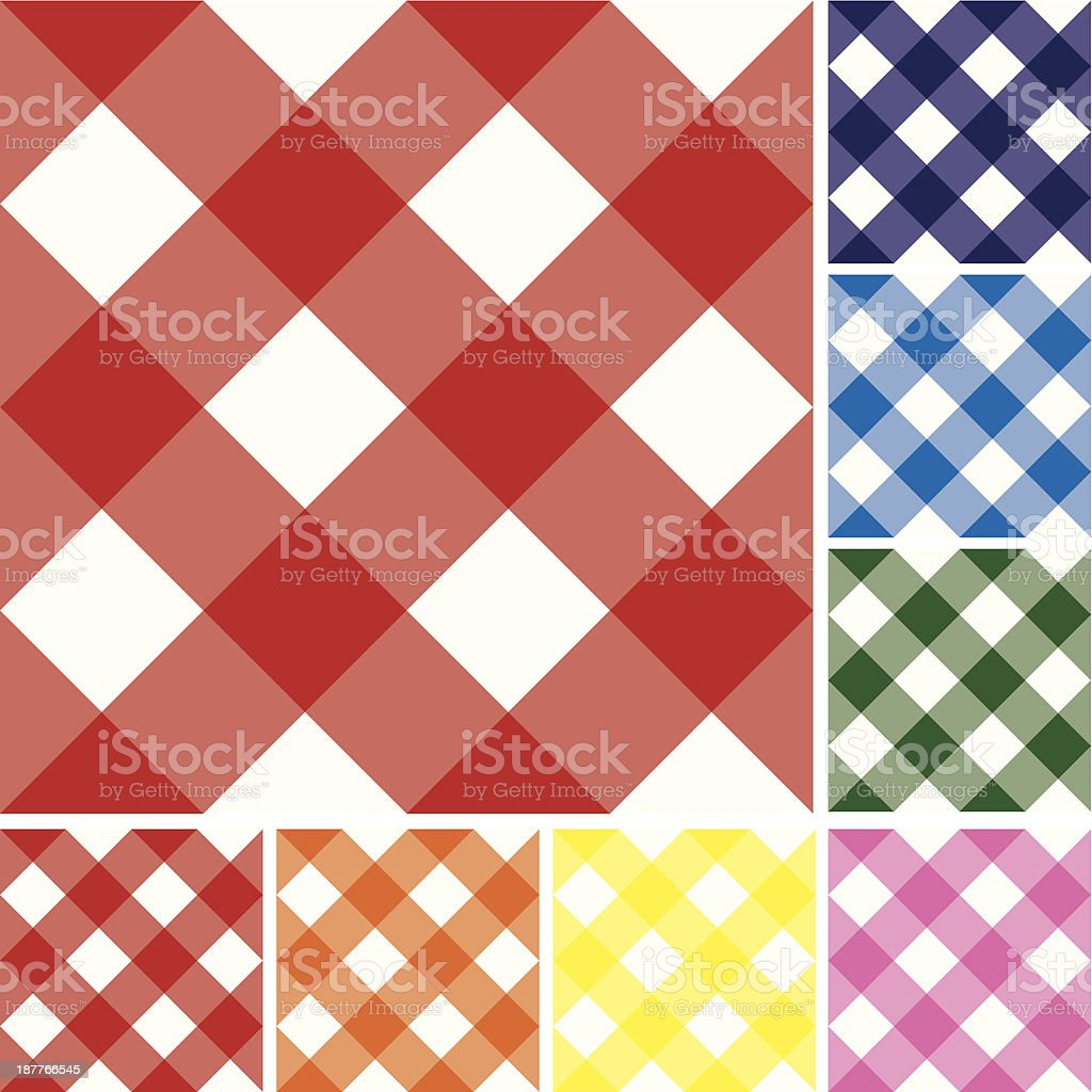 Gingham Checked Pattern Repeatable Background Tiles: Variety of Colors royalty-free stock vector art