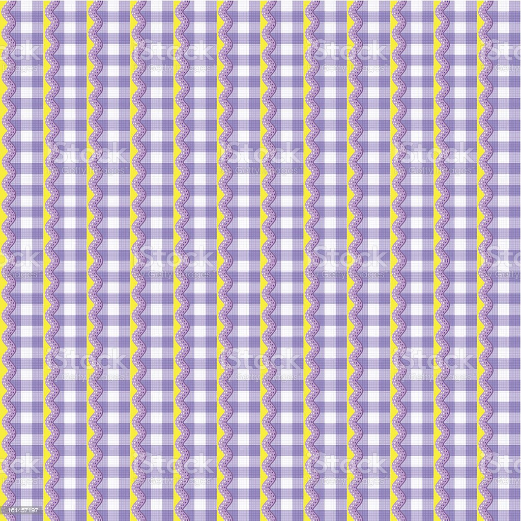 Gingham fabric decorated with ric-racs, seamless pattern included vector art illustration