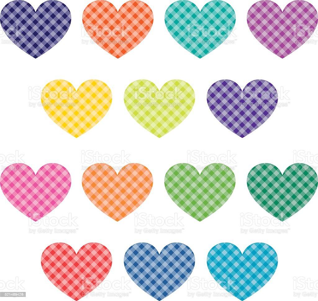 gingham hearts clipart vector art illustration