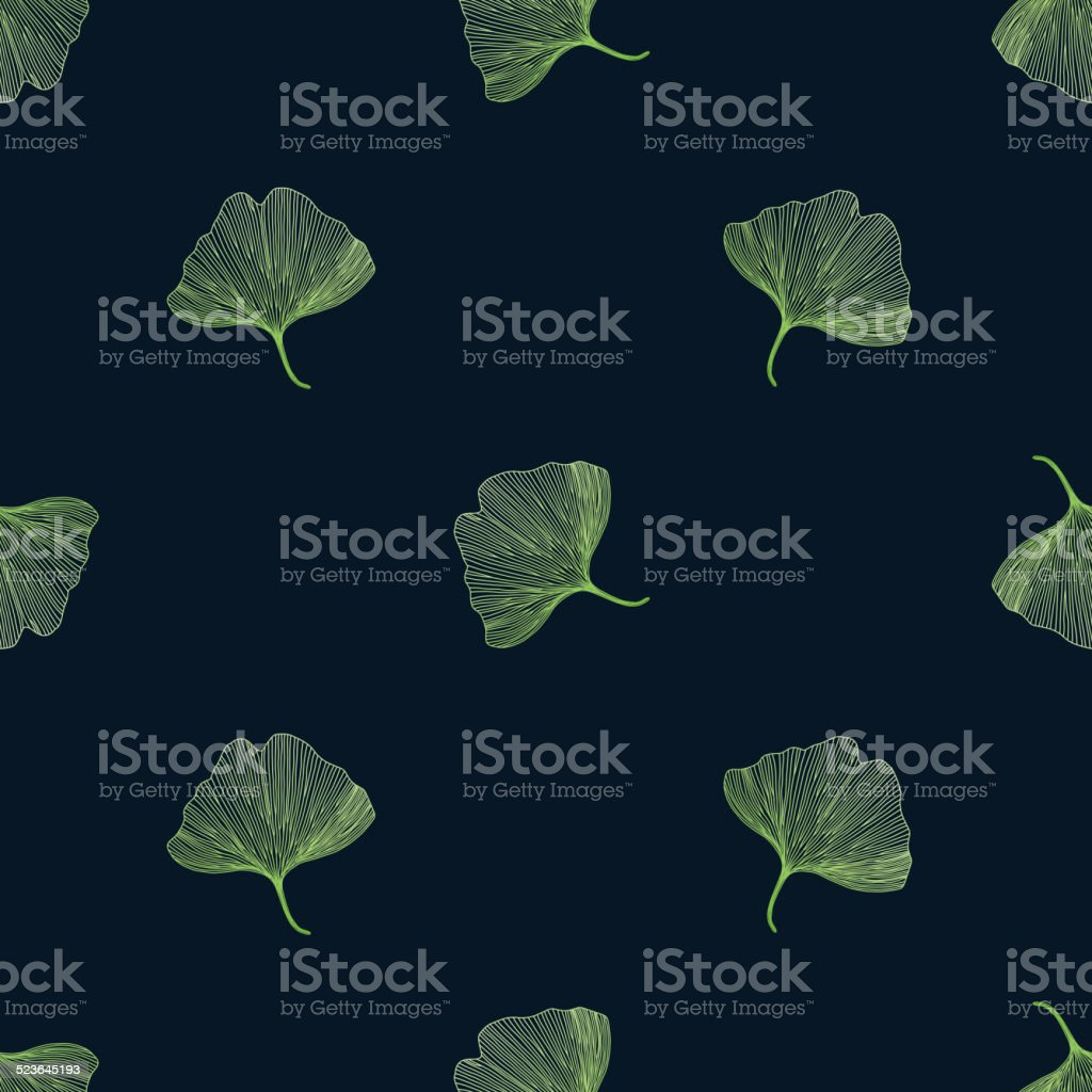 Ginkgo biloba leaves on black background vector art illustration